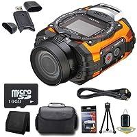 Ricoh WG-M1 14MP CMOS Action Camera (Orange) + 16GB microSD Memory Card + Carrying Case + Micro HDMI Cable + SDHC Card USB Reader + Memory Card Wallet + Deluxe Starter Kit DavisMAX Bundle