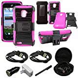 Mstechcorp - [Heavy Drop Protection] For ZTE Rapido 4G LTE Z932 (Straight Talk), Belt Clip Holster Attached Protective Case - Includes [Hands Free Earphone With Carrying Case] + [Touch Screen Stylus] + [Car Charger 2 Data Cable] (HOLSTER PINK)