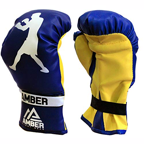 Amber Fight Gear Junior Boxing Gloves, 6oz Gloves for Children Age 3 to 6 Years for MMA Muay Thai Kickboxing and Punching Bag Mitts