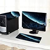 UHOO2018 One Machine LCD Monitor Keyboard Cover Gigantic Asteroids in Space About to