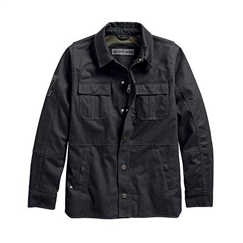 (Harley-Davidson Official Men's Trego Slim Fit Riding Shirt Jacket, Black (Large))