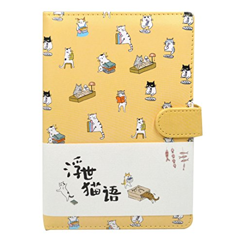 Student Cute Cartoon Cat Pattern Notebook Leather Cover Journal Diary -