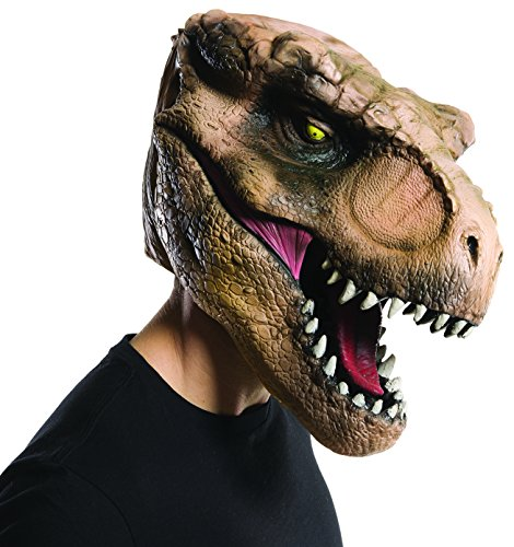 Men's Jurassic World T-Rex Overhead Mask, Multi, One Size - The Mask Fancy Dress Costumes