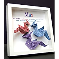 Personalized Name and Origin Baby Gift Paper Origami Dragon Shadowbox Frame Custom Newborn Baby Shower Nursery Decor Gift