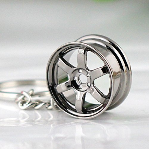 Maycom Creative Hot Auto Part Model TE37 Six Star Wheel Rim Tyre Keychain Keyring Key Chain Ring Keyfob Car Accessories - Parts Cars
