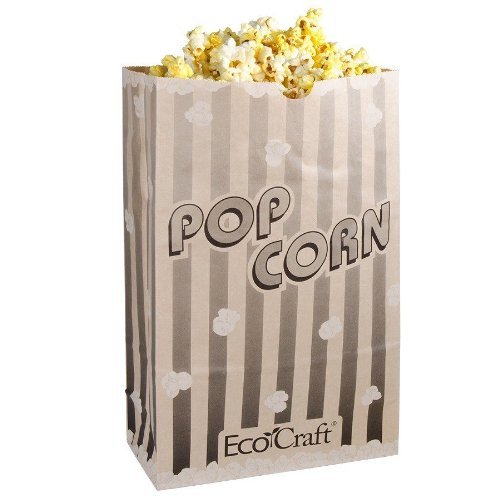 Bagcraft Papercon 300614 EcoCraft Theater Popcorn Bag with Black Stripe Design, 170 oz Capacity, 11-3/4'' Length x 7-1/2'' Width x 3-1/2'' Height (Case of 250) by Bagcraft Papercon (Image #1)