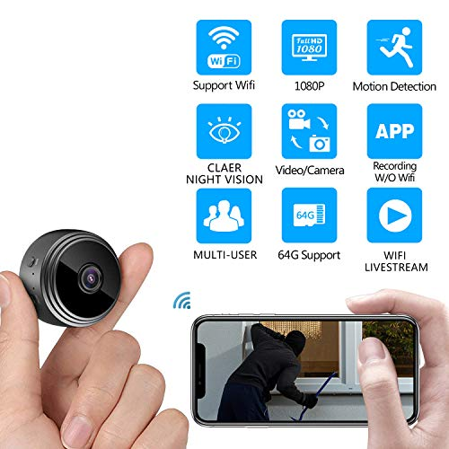 Mini WiFi Spy Camera, Home Security WiFi Mini Hidden Camera HD 1080P Night Vision with Motion Detection Nanny Cam, IP Camera Recording Indoor Outdoor
