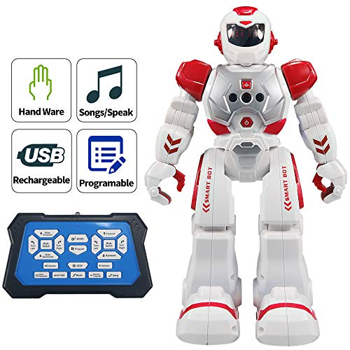 Suliper Remote Control Robots for Kids,Intellectual Gesture Sensor Programmable RC Robot Toys with Infrared Controller,Early Education,Speak,Dance,Sing,Walk,Robot Kits for Boys and Girls(Red/White) -