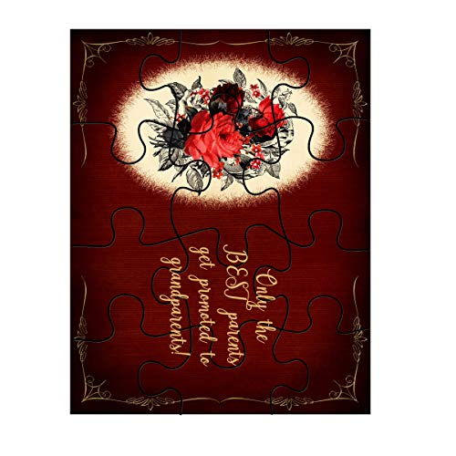 Jigsaw Puzzle Only The Best Parents Get Promoted to Grandparents! Shabby Chic Bouquet Plaque On Red Background