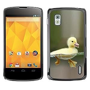RAJCASE Premium slim Aliminium Casa Carcasa Funda Case Bandera Cover Armor Shell / Happy Duckling Chick / LG Google Nexus 4