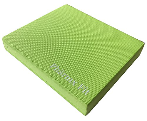 Balance Pad Exercise Stability Trainer for Physical Therapy, Yoga Foam Kneeling Pad, Includes Free Storage Bag and Exercise Program, 16 x 14 inches, Lime Green