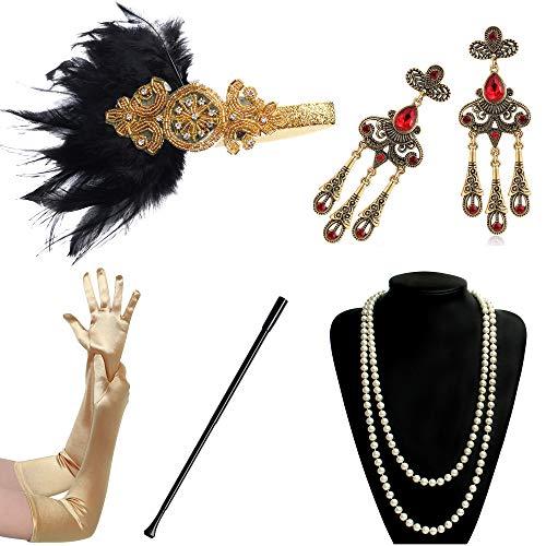 BABEYOND 1920s Flapper Accessories Gatsby Costume Accessories Set 20s Flapper Headband Pearl Necklace Gloves Cigarette Holder (Set-118) ()