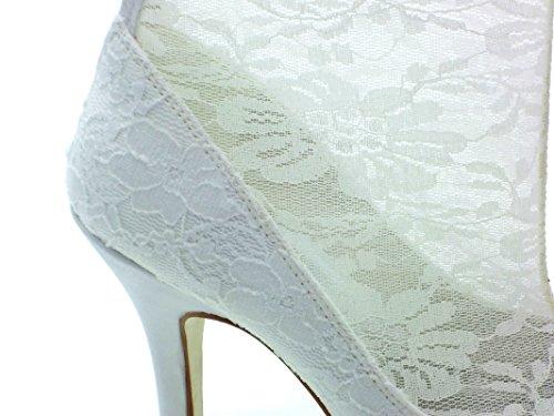Hacke Satin Brautschuhe Geschlossene Spitze Stilett Damen JIA Weiß Reißverschluss 37019 Hochzeitsschuhe Plattform Stiefel JIA Zehe zaF10qAw