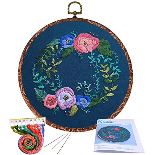 (Full Range of Embroidery Starter Kit with Pattern, Kissbuty Cross Stitch Kit Including Embroidery Cloth with Rose Pattern, Imitation Wood Embroidery Hoop, Color Threads Tools Kit (Floral Hoop))