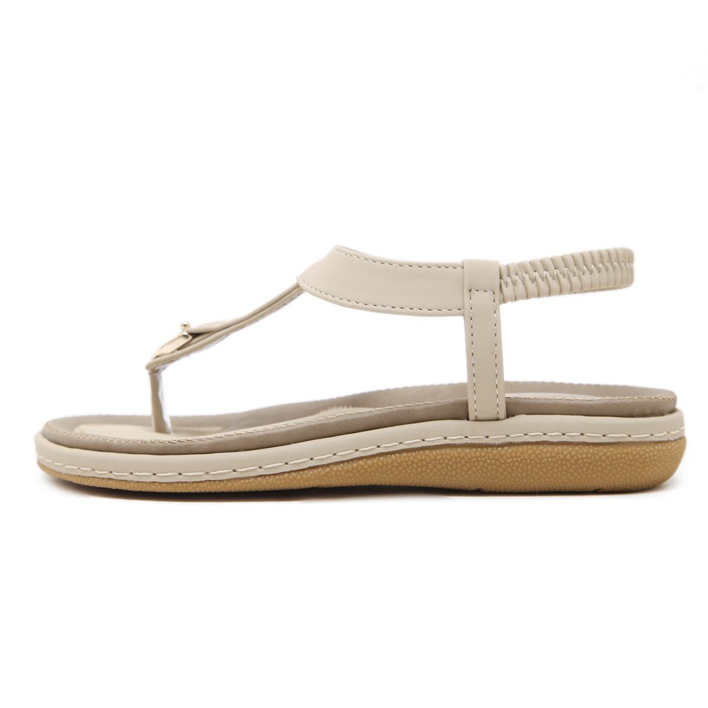DolphinGirl Bohemian Simple T-Strap Summer Vacation Flat Thong Sandals, Nude Herringbone Glitter Shiny Golden Metal Shoes for Dressy Casual Jeans Daily Wear and Beach Vacation by DolphinBanana (Image #3)
