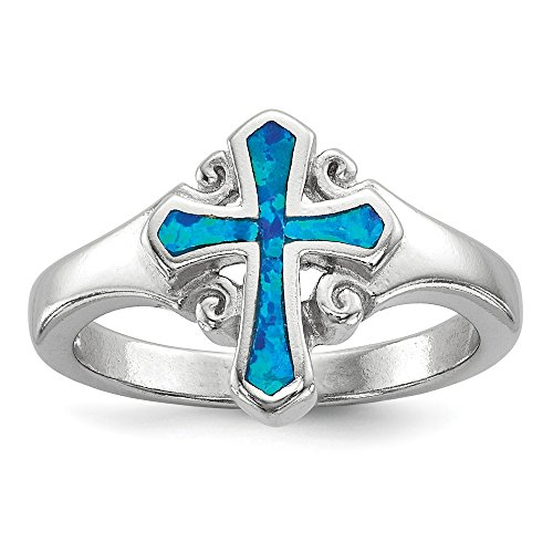 - 925 Sterling Silver Blue Inlay Created Opal Cross Religious Band Ring Size 8.00 Fine Jewelry Gifts For Women For Her