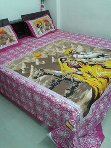 (RAJASTHANI TRADITIONAL DESIGN COTTON BEDSHEET/BEDSPREAD BEDCOVER WITH 2 PILLOW COVER)