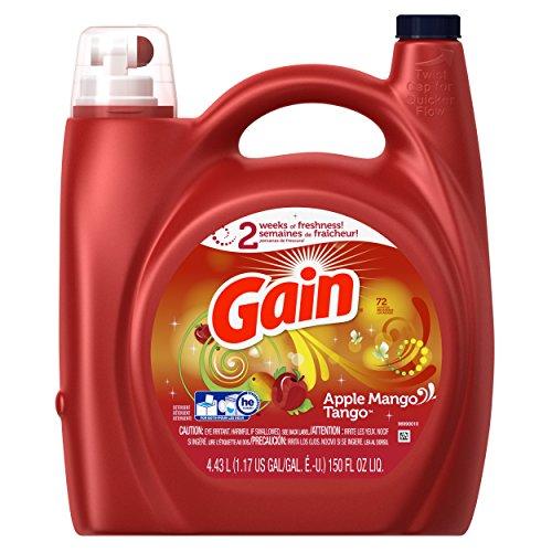 Gain Liquid Laundry Detergent with Febreze Freshness, Apple Mango Tango, 96 Loads 150 fl oz