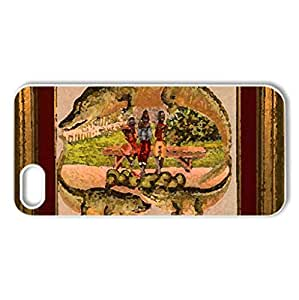 Alligator Border #5 - Case Cover for iPhone 5 and 5S (Watercolor style, White)