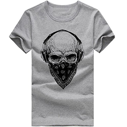 iYYVV Men Women Fashion T Shirt Printing Skull Tops Tees Shirt Short Sleeve (Hooded Striped Rugby)