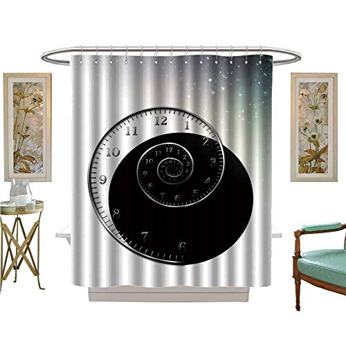 (luvoluxhome Shower Curtain Collection by Spiral Clock Fabric Bathroom Set with Hooks W72 x L96)