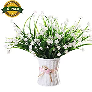 4 Pcs Artificial Fake Flowers Fake Orchid FlowersFaux Plastic Bushes Simulation Greenery Plants for Window Box Home Patio Yard Indoor Garden Light Office Wedding Decor(Vase is not included) 1