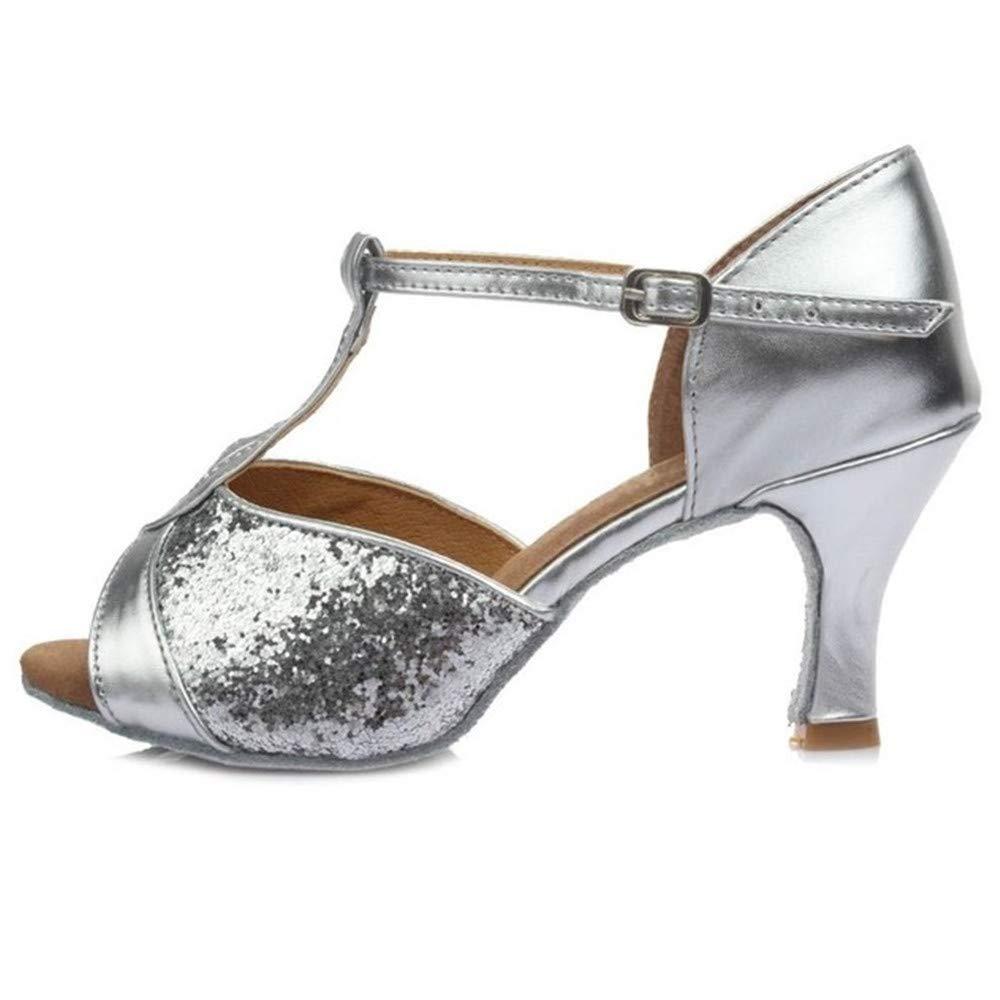 ZHIZHEN Girls Ballroom Latin Tango Dance Shoes High Heels Dance Shoes Silver 40 (7 cm) by ZHIZHEN