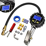 HUANZHAN Digital Tire Pressure Gauge Inflator with Pressure Gauge,Heavy Duty 250 PSI Air Chuck and Compressor Accessories with Rubber Hose and Quick Connect with 0.1 Display Resolution