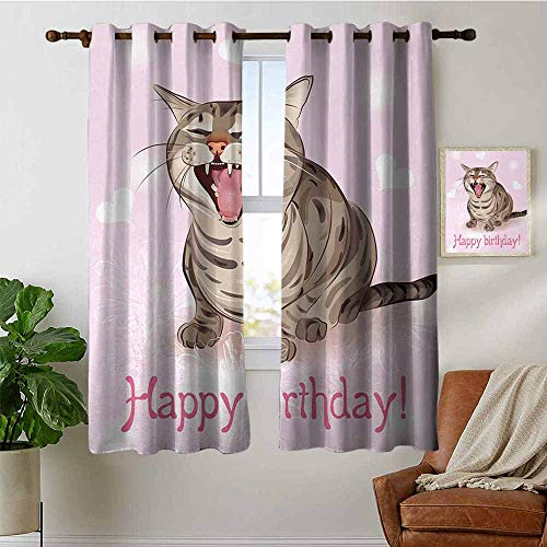 petpany Modern Farmhouse Country Curtains Birthday,Funny Cat Sings a Greeting Song on Pink Color Backdrop with Hearts Flowers,Baby Pink Brown,Design Drapes 2 Panels Bedroom Kitchen Curtains 42