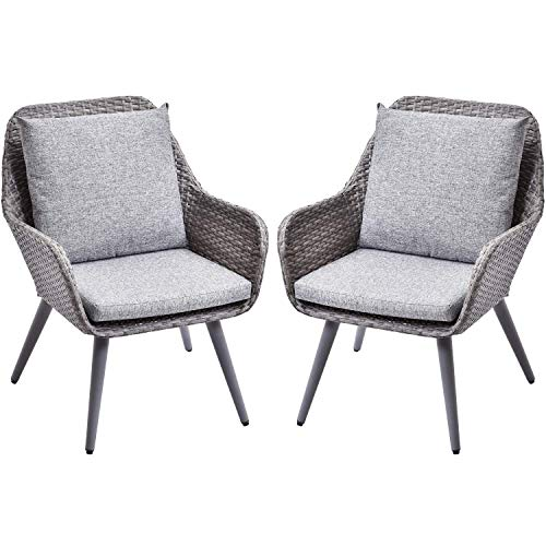 LZ LEISURE ZONE Patio PE Rattan Chairs Set of 2 Outdoor Wicker Dining Chairs Accent Furniture Chair Sets with Grey Cushion for Patio Garden Café Restaurant Bistro Bar Dinette and Hote (Grey Cushion_2)