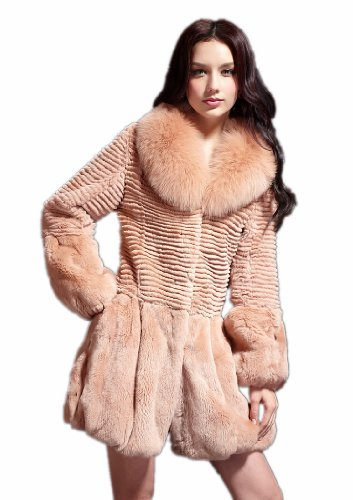 Queenshiny Long Women's 100% Real Rex Rabbit Fur Coat with Fox Collar-Camel-M(8-10)