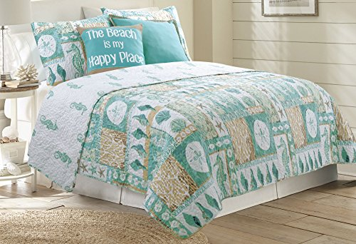 Coastal Home Marco Beach Cottage Quilt Set Full/Queen Blue multi Marco Comforter Set