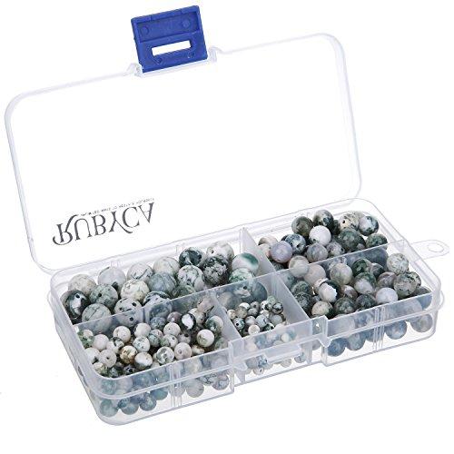RUBYCA Natural Tree Agate Gemstone Round Loose Beads Organizer Plastic Box Jewelry Making Mix Sizes