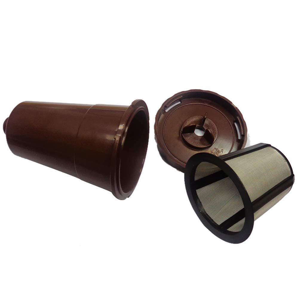WillowswayW 再利用可能 ステンレススチール コーヒーカプセル フィルター ティーカップ 詰め替え可能 キューリグK-Cup用 one size ブラウン one size ブラウン B07J4QMR47