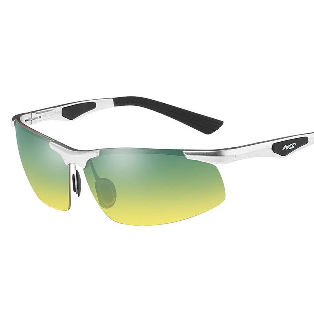 Unbekannt Herren Halbrahmen Aluminium Magnesium polarisierte Sonnenbrillen Tag und Nacht Gläser Fahren