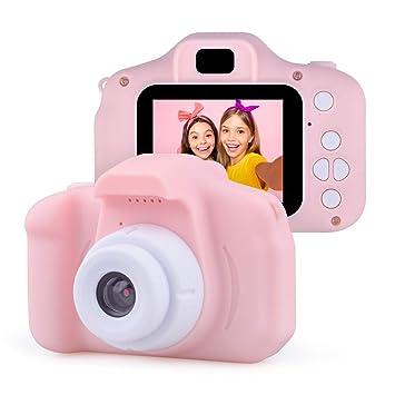 Jeudy Kids Cámara Digital para niñas 1080p HD, Mini cámara Digital de Dibujos Animados Regalo de cumpleaños para niños Grabadora de Video 1080P IPS 2 ...