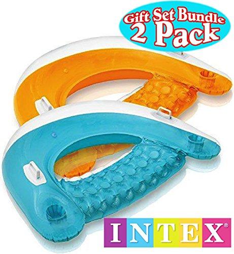 Intex Sit N Float Inflatable Lounges Teal & Orange Gift Set Bundle - 2 Pack, 60 X 39