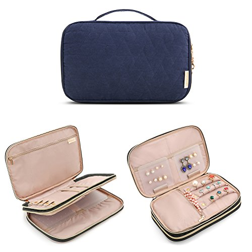 BAGSMART Double Layer Travel Jewelry Organizer Jewelry Storage Carrying Cases for Earrings, Necklaces, Rings, Blue