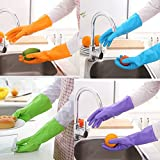 Ieasycan Rubber Gloves Household Kitchen Dish Washing Cleaning PVC Cotton Gloves