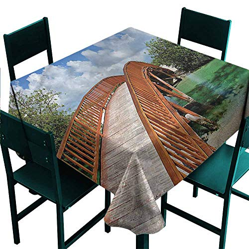DONEECKL Easy Care Tablecloth Landscape Wooden Bridge Arc Design Party W54 xL54