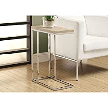 Monarch Specialties Reclaimed-Look/Chrome Metal Accent Table, 23.75-Inch, Natural