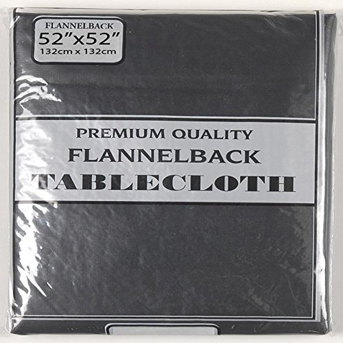 Polyester Lined Vinyl Cover (Carnation Home Fashions Vinyl Tablecloth with Polyester Flannel Backing, 52 by 52-Inch, Black)