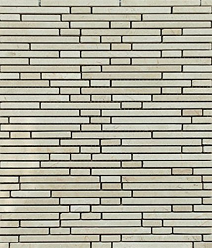 Crema Marfil Staggered Pattern Stone Tile Mosaics with Calacatta for Bathroom and Kitchen Walls Kitchen Backsplashes