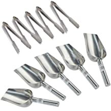 "LUQUAN Scoops Ice Tongs - 5 X 5Oz Sweet Scoops & 5 X 5"" Ice Tongs Wedding Candy Buffet Bar Stainless Set Silver"
