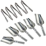 Scoops Ice Tongs - TOOGOO(R) 5 x 5oz Sweet Scoops & 5 x 5'' Ice Tongs Wedding Candy Buffet Bar Stainless Set Silver