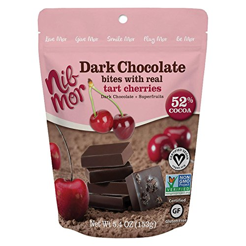 Chocolate Tart Dark (NibMor All Natural Dark Chocolate Bites with Real Tart Cherries - Pack of 6)