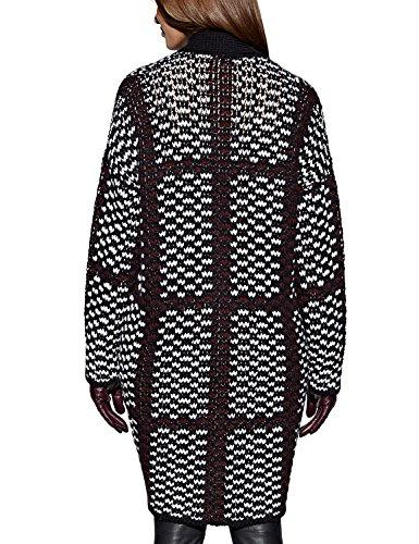 APART Fashion Strickmantel-Capa Mujer, Schwarz (schwarz-weiß-burgunder)