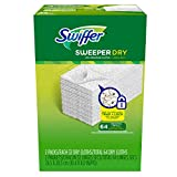 Swiffer Sweeper Dry Sweeping Pad Refills, Hardwood Floor Mop Cleaner Cloth Refill, Unscented, 64 Count