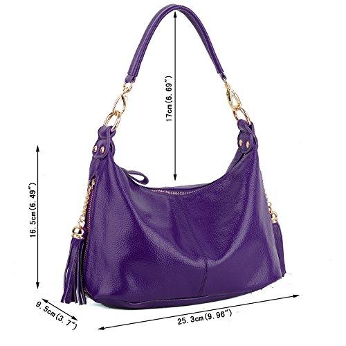 Purple Bag Handbag Zippered Top Handle Cross Women's Leather Double Body Small Pockets Yaluxe Shoulder wqn7x6ZROx