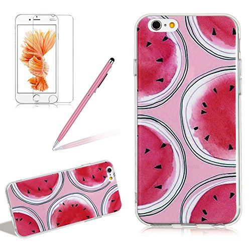 - Fruit Series Silicone Case Cover for iPhone 6 6S, Girlyard Red Round Watermelon with Black Seed Flexible Silicone Protective Case Cover Ultra Slim Pink Color Background Shockproof Case Cover